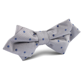 Grey with Oxford Navy Blue Polka Dots Diamond Bow Tie