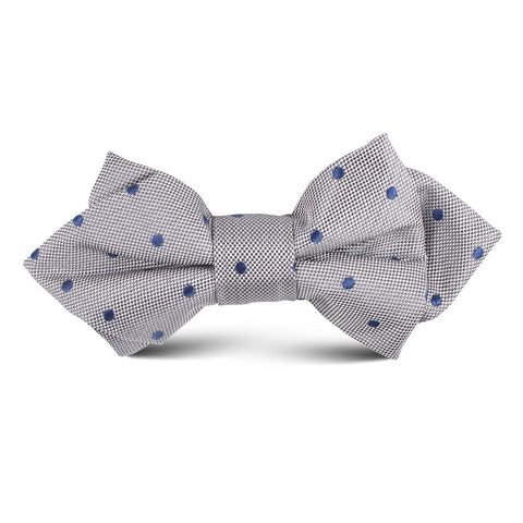 Grey with Oxford Navy Blue Polka Dots Kids Diamond Bow Tie