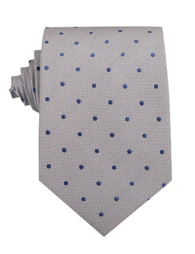 Grey with Oxford Navy Blue Polka Dots Necktie