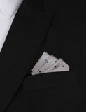 Grey with Oxford Navy Blue Polka Dots Oxygen Three Point Pocket Square Fold