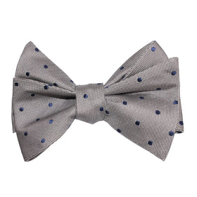 Grey with Oxford Navy Blue Polka Dots Self Tie Bow Tie