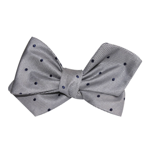 Grey with Oxford Navy Blue Polka Dots Self Tie Diamond Tip Bow Tie