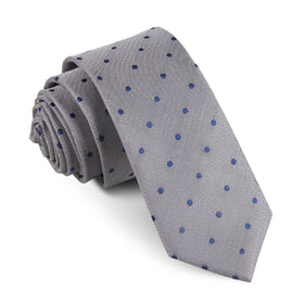 Grey with Oxford Navy Blue Polka Dots Skinny Tie