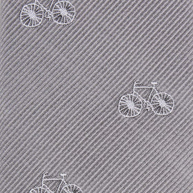 Grey with White French Bicycle Kids Bow Tie