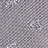Grey with White French Bicycle Fabric Self Tie Diamond Tip Bow TieM098