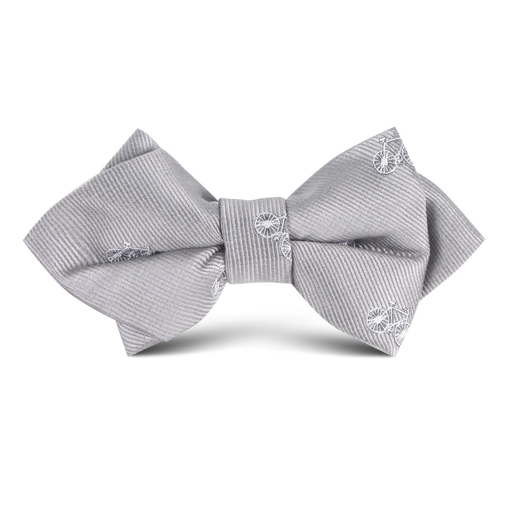 Grey with White French Bicycle Kids Diamond Bow Tie