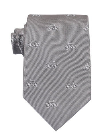 Grey with White French Bicycle Necktie