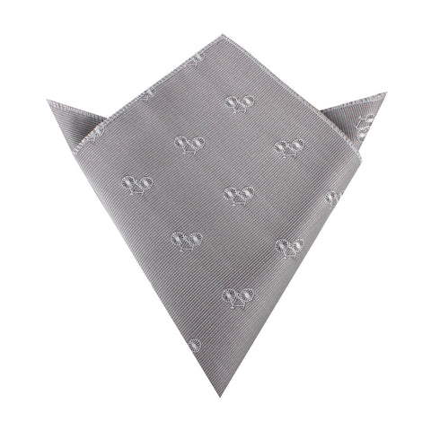 Grey with White French Bicycle Pocket Square