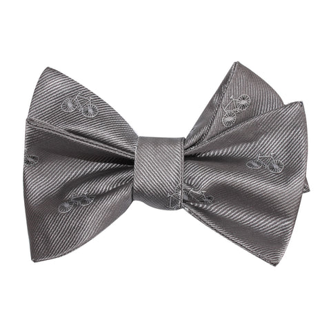 Grey with White French Bicycle Self Tie Bow Tie