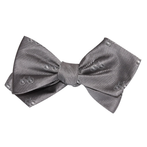 Grey with White French Bicycle Self Tie Diamond Tip Bow Tie