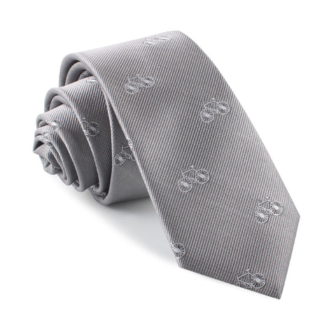 Grey with White French Bicycle Skinny Tie