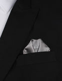 Grey with White French Bicycle Winged Puff Pocket Square Fold