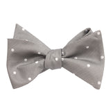 Grey with White Polka Dots - Bow Tie (Untied) Self tied knot by OTAA