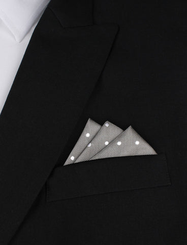 Grey with White Polka Dots - Pocket Square
