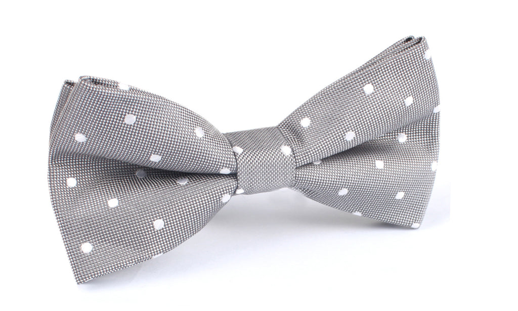 Grey with White Polka Dots - Bow Tie