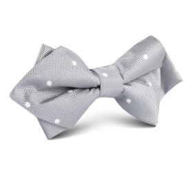 Grey with White Polka Dots Diamond Bow Tie