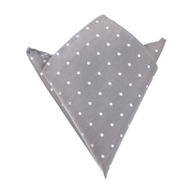 Grey with White Polka Dots Pocket Square