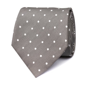 Grey with White Polka Dots Tie OTAA