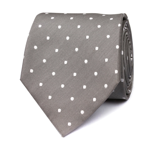 Grey with White Polka Dots Tie