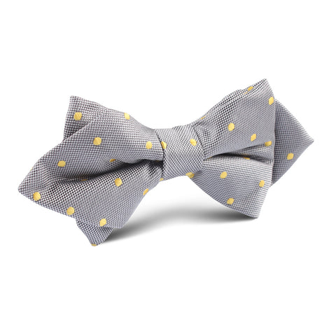 Grey with Yellow Polka Dots Diamond Bow Tie