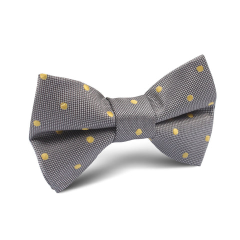 Grey with Yellow Polka Dots Kids Bow Tie