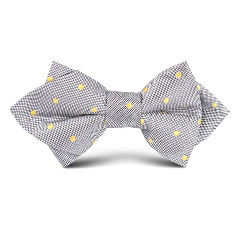 Grey with Yellow Polka Dots Kids Diamond Bow Tie