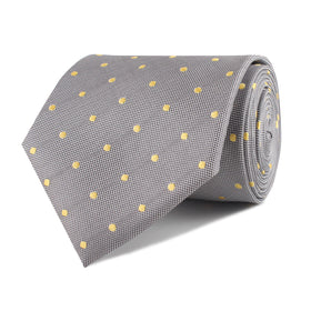 Grey with Yellow Polka Dots Necktie