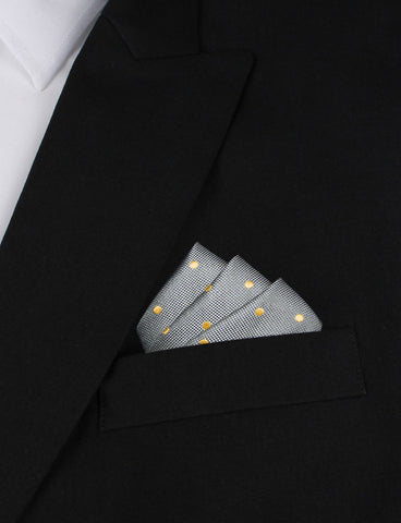 Grey with Yellow Polka Dots Pocket Square