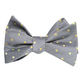 Grey with Yellow Polka Dots Self Tie Bow Tie