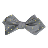 Grey with Yellow Polka Dots Self Tie Diamond Tip Bow Tie 1