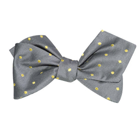 Grey with Yellow Polka Dots Self Tie Diamond Tip Bow Tie