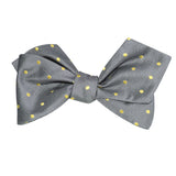 Grey with Yellow Polka Dots Self Tie Diamond Tip Bow Tie 2