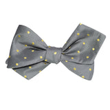 Grey with Yellow Polka Dots Self Tie Diamond Tip Bow Tie 3