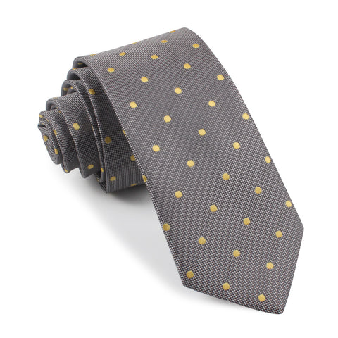 Grey with Yellow Polka Dots Skinny Tie