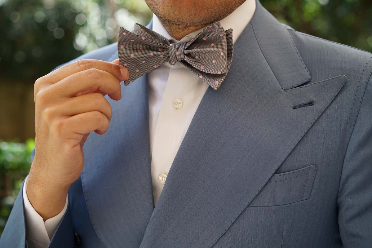 Grey with Baby Pink Polka Dots Self Tie Bow Tie