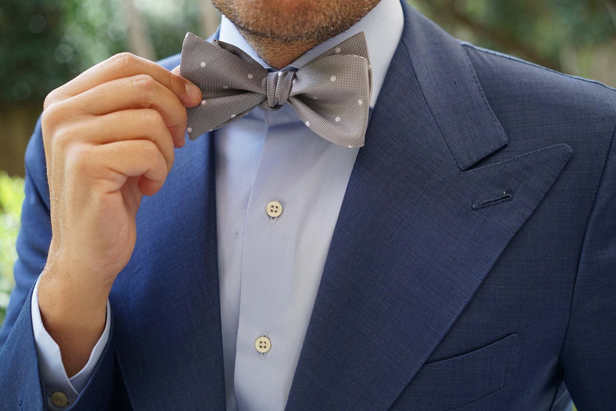 Grey with White Polka Dots - Bow Tie (Untied)
