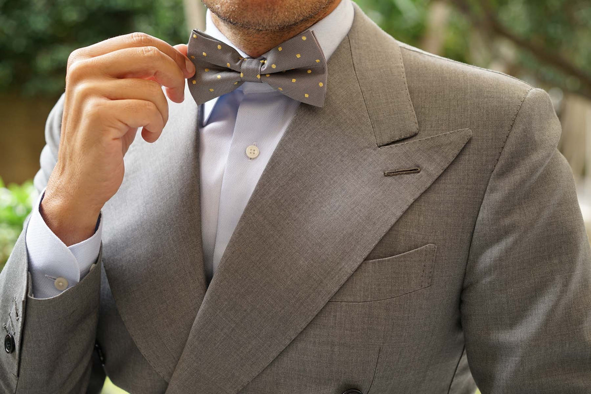 Grey with Yellow Polka Dots Bow Tie
