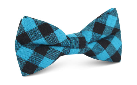 Grim Blue Gingham Bow Tie