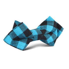 Grim Blue Gingham Diamond Bow Tie