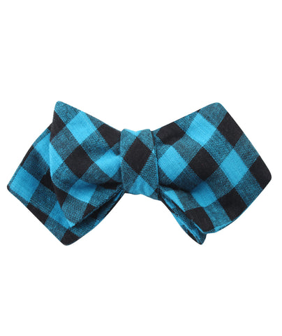 Grim Blue Gingham Diamond Self Bow Tie