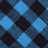 Grim Blue Gingham Fabric Kids Diamond Bow Tie