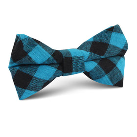 Grim Blue Gingham Kids Bow Tie