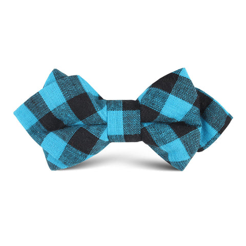 Grim Blue Gingham Kids Diamond Bow Tie