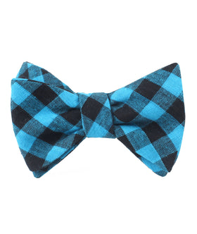 Grim Blue Gingham Self Bow Tie