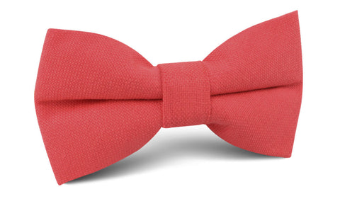 Guava Coral Linen Bow Tie