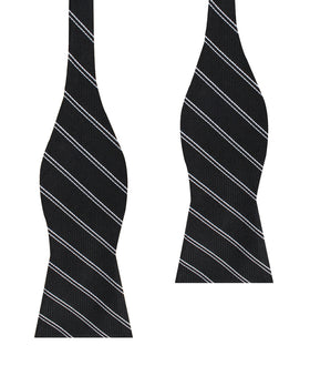 Harlem Black Striped Self Bow Tie