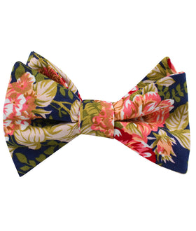 Hawaiian Pink Floral Self Bow Tie