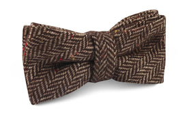 Herringbone Chestnut Wool Bow Tie