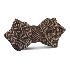 Herringbone Chestnut Wool Diamond Bow Tie