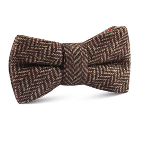 Herringbone Chestnut Wool Kids Bow Tie